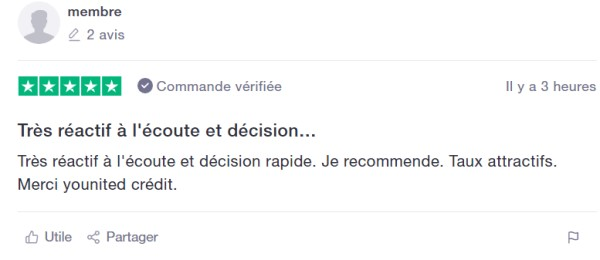 Commentaire client positif Younited Credit